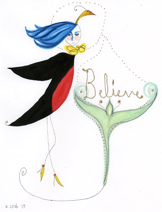 Believe by Kathy Crabbe, gouache painting on paper
