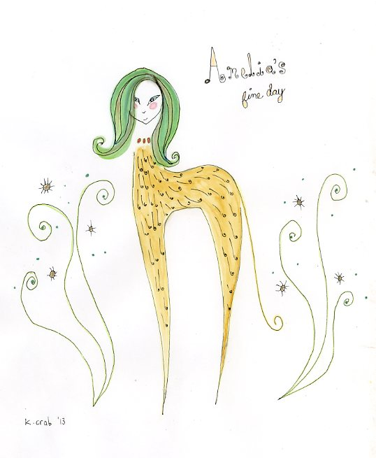 Watercolor beastie goddess by artist Kathy Crabbe