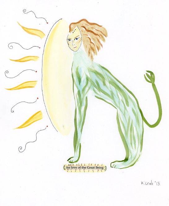 beastie lion, gouache on paper by artist Kathy Crabbe