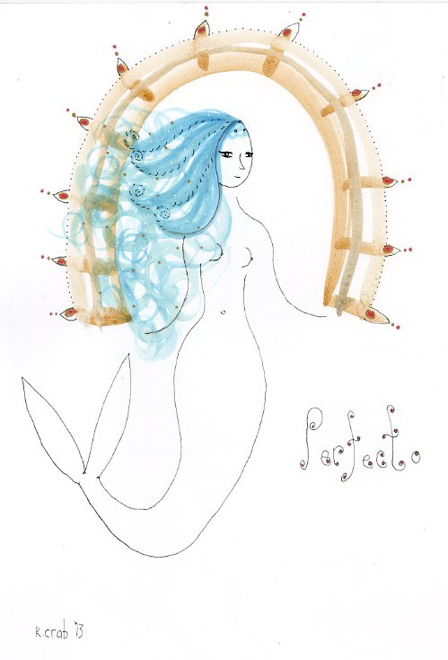 Perfecto Mermaid painting by Kathy Crabbe