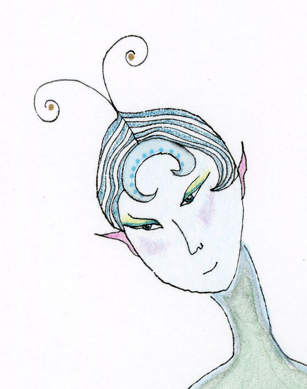 "Kathy Crabbe, Return of the Sea Elf (detail), 2014, watercolor on paper, 8 x 11""."