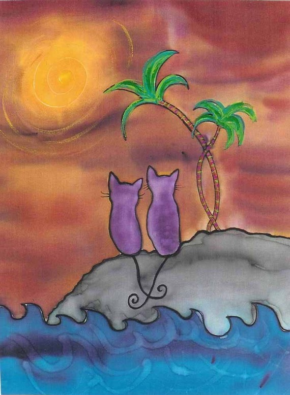 "Kathy Crabbe, Sunset for 2, 2001, Silk dyes on silk, 8 x 10""."