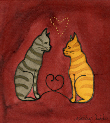"Kathy Crabbe, Valentine Cats, 2001, Silk dyes on silk, 8 x 10""."
