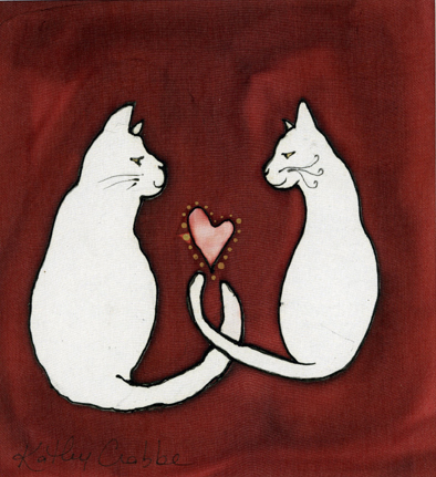 "Kathy Crabbe, Valentine Cats, 2002, Silk dyes on silk, 8 x 10""."
