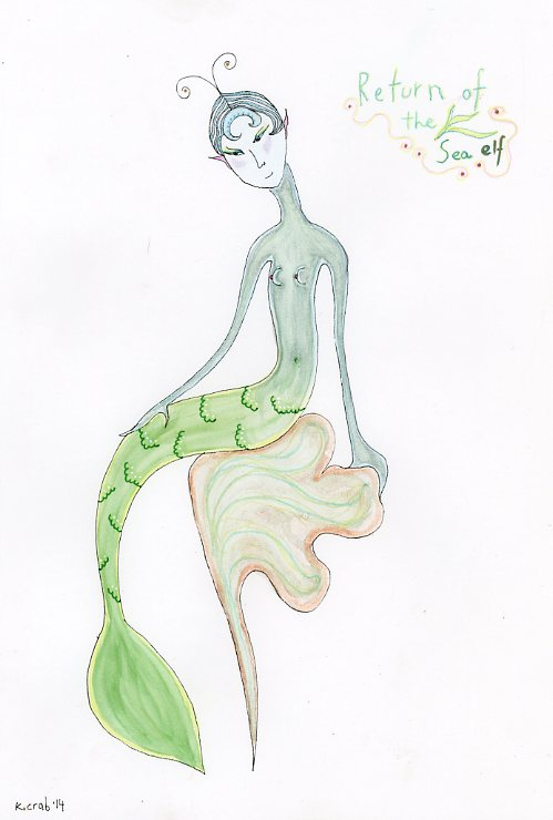 "Kathy Crabbe, Return of the Sea Elf, 2014, watercolor on paper, 8 x 11""."