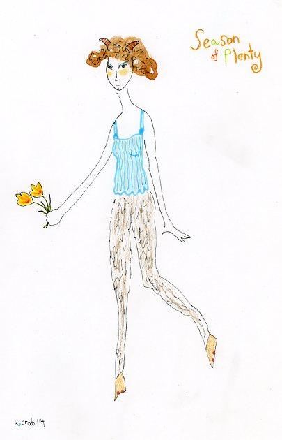 "Kathy Crabbe, Season of Plenty, 2014, watercolor on paper, 8 x 11""."