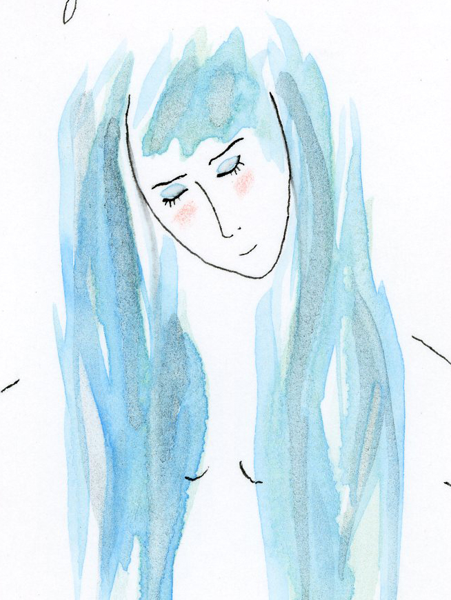 "Kathy Crabbe, misty bliss (detail), 2014, watercolor on paper, 8 x 11""."