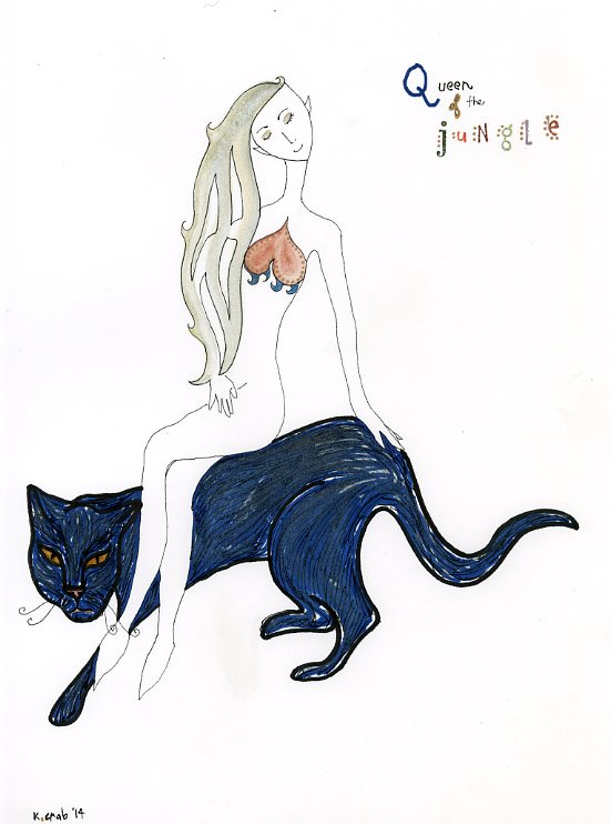 Goddess riding her black panther watercolor painting by Kathy Crabbe