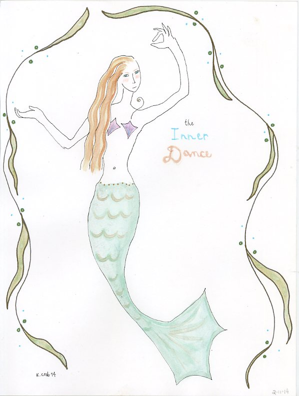 Mermaid painting watercolor by Kathy Crabbe