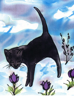 "Kathy Crabbe, March's Cat, 2004, silk dyes on silk, 8x10""."