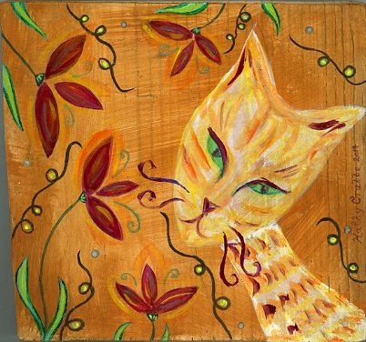 Cat painting on wood by Kathy Crabbe