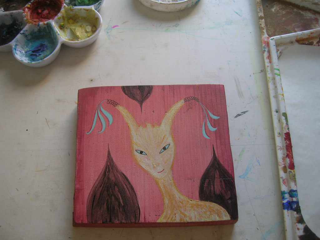 in progress painting on pine board by Kathy Crabbe