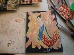 "Kathy Crabbe, Carya (in progress), 2014, mixed media on paper, 7x10""."