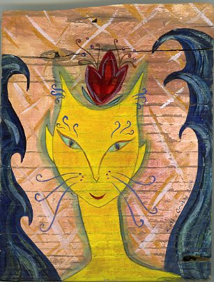 Fairy Cat painting on pine by Kathy Crabbe
