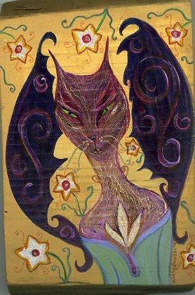 """Kathy Crabbe, Devil Kitty, 2014, acrylic on wood, 4x5.5""""."""
