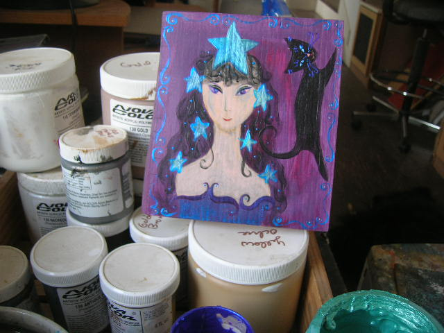 Star Goddess painting in progress by Kathy Crabbe