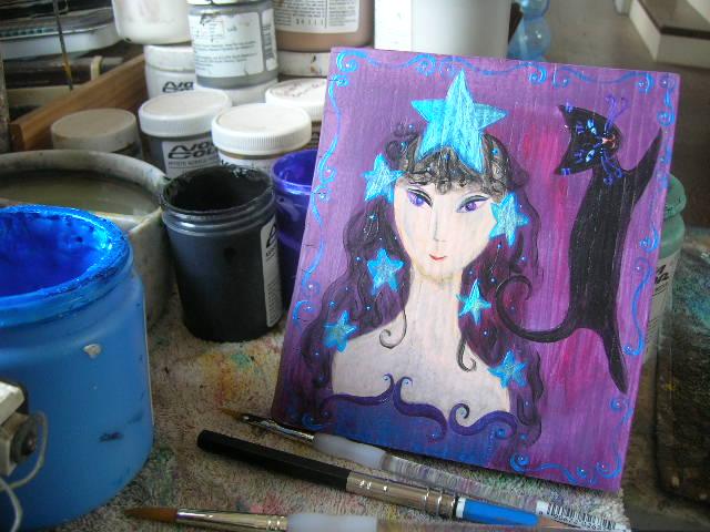 "Kathy Crabbe, Star Goddess, 2014, acrylic on wood, 5.5x6""."
