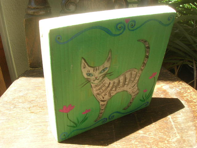 "Kathy Crabbe, Spring Kitty, 2014, acrylic on wood, 5x5""."
