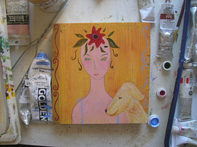 Best Friends, painting on wood in progress by Kathy Crabbe