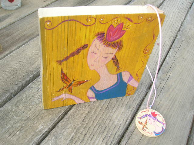 Butterfly Girl Necklace & matching painting