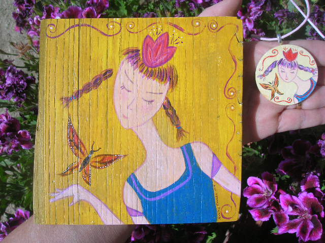 Butterfly Girl paiinting and necklace on wood by Kathy Crabbe