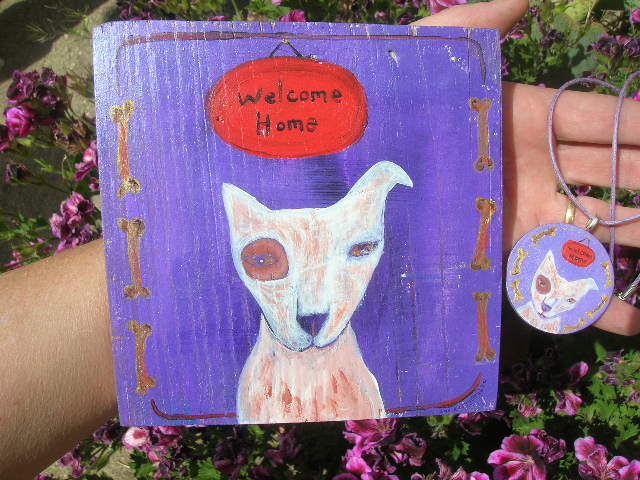 Welcome Home painting and necklace by Kathy Crabbe