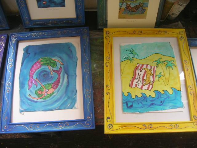 LuLu in Laguna silk art paintings by Kathy Crabbe, California