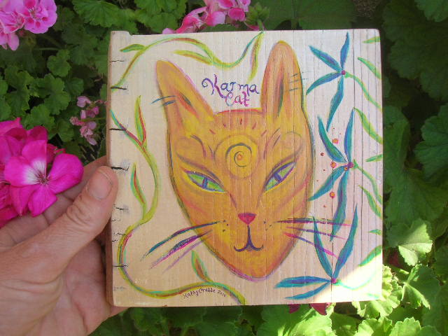 Karma Cat painting by Kathy Crabbe