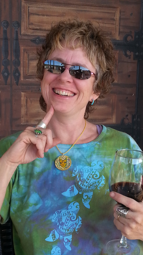 Kathy wearing Karma Cat Necklace