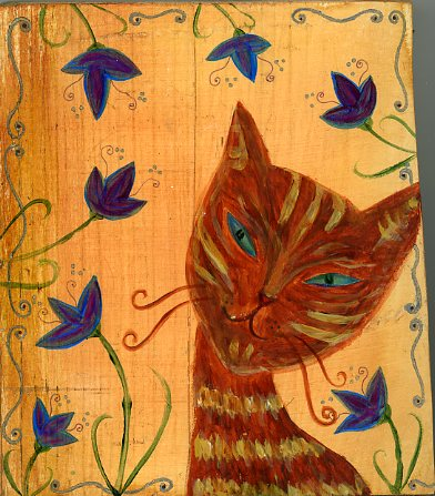 "Kathy Crabbe, Kitty Luv, 2014, acrylic on wood, 5x6""."