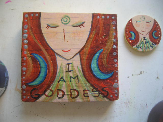 I am Goddess necklace & painting by Kathy Crabbe