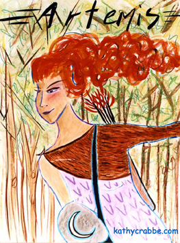 Sagittarius Goddess Artemis by Kathy Crabbe