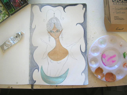 Fire-Ice Fairy in progress by Kathy Crabbe