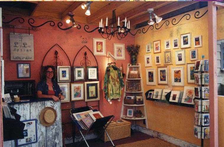 Kathy Crabbe artist booth at Sawdust Art Festival, Laguna Beach, California