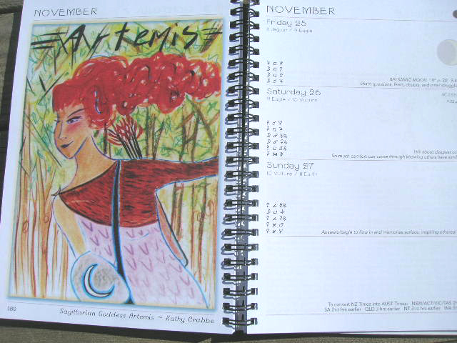 Artemis (Sag Goddess) by Kathy Crabbe in 2016 Moon Calendar