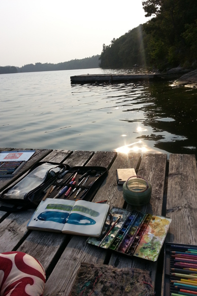 painting abstracts at the cottage 2015