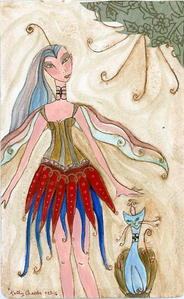 Elven Dream Priestess & Puss by Kathy Crabbe