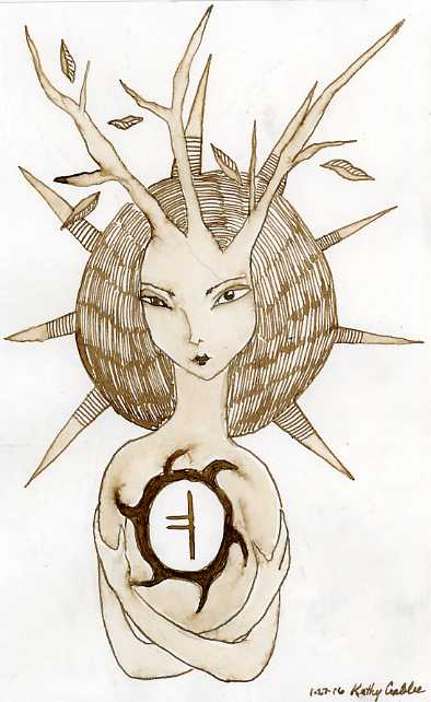 Runic Tree Goddess by Kathy Crabbe