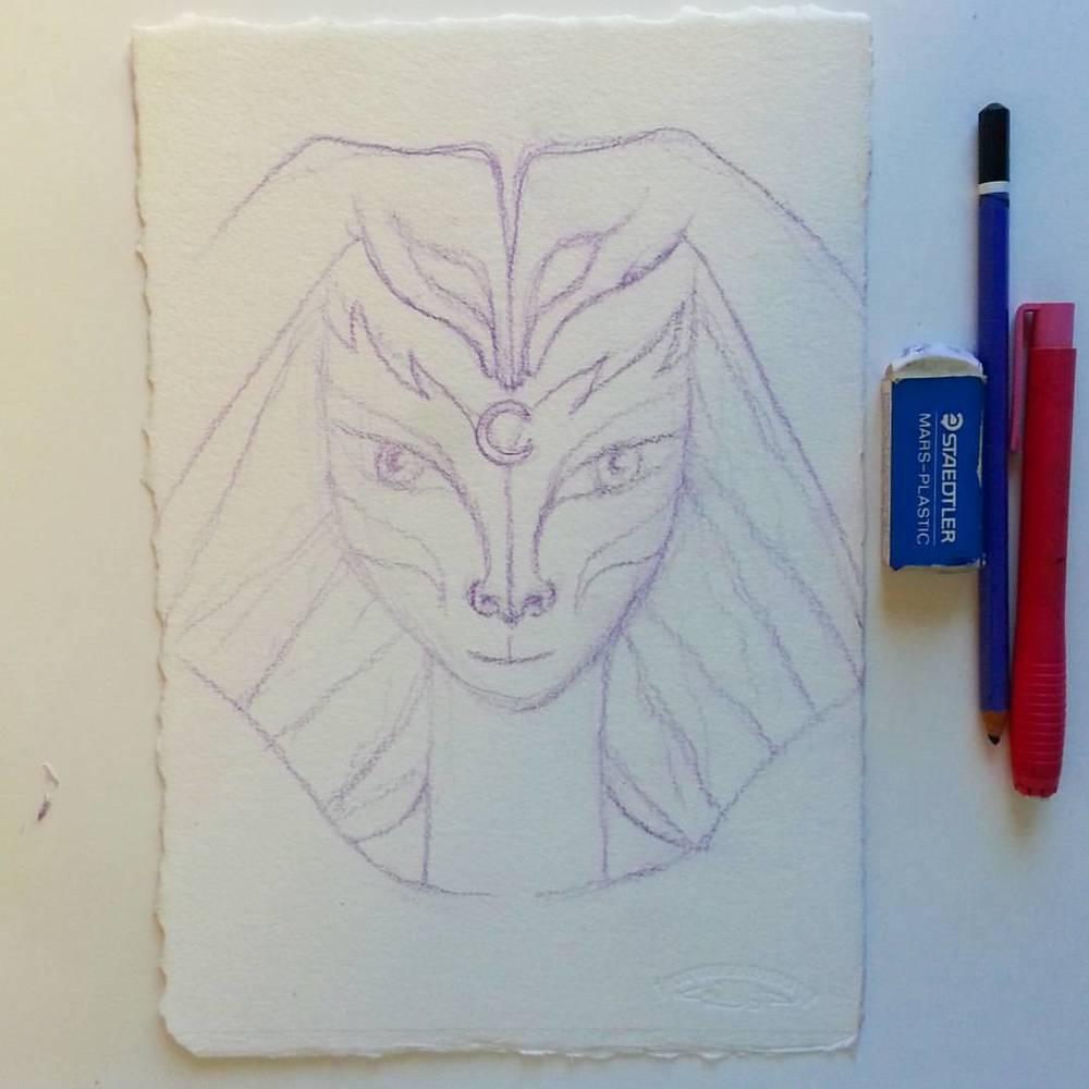 Sketch 1 of Egyptian Goddess 'Bast' by Kathy Crabbe