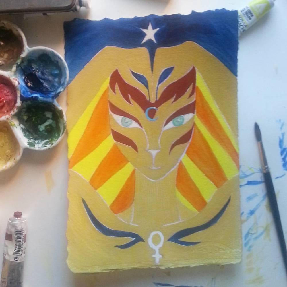 Sketch 3 of Egyptian Goddess 'Bast' by Kathy Crabbe