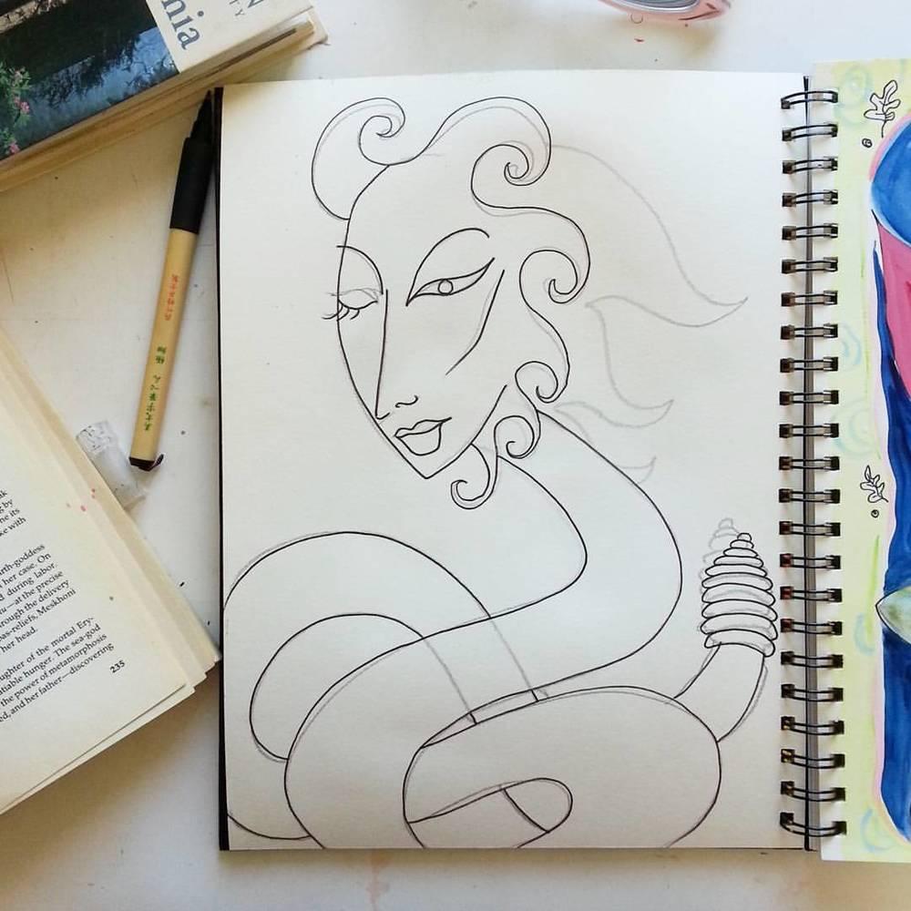 Sketch of Egyptian Snake Goddess Merseger by Kathy Crabbe