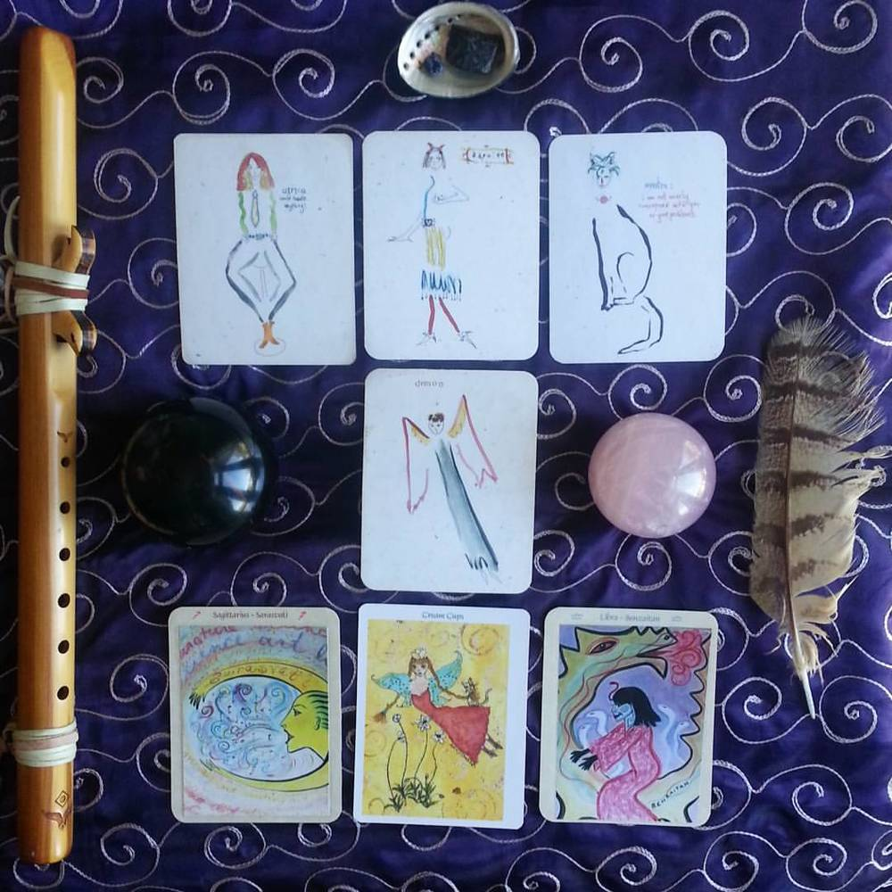 Lefty Oracle Card Spread for a Soul Reading by Kathy Crabbe