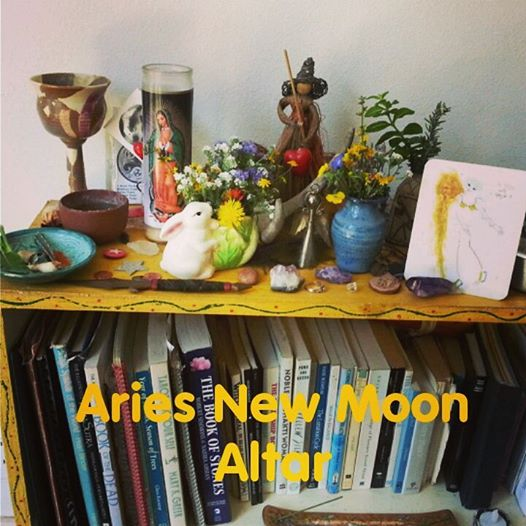 Aries New Moon Altar by Kathy Crabbe