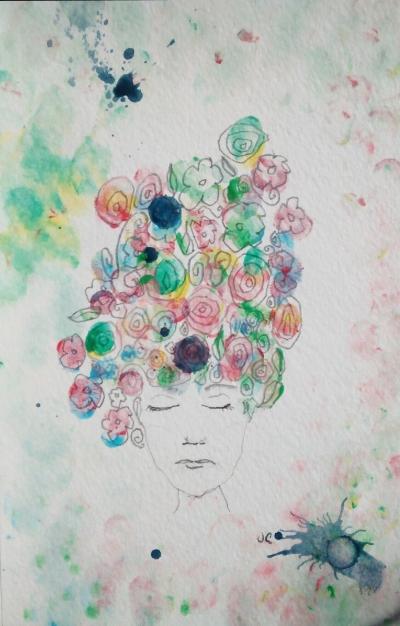 Janene's painting using her non dominant left hand