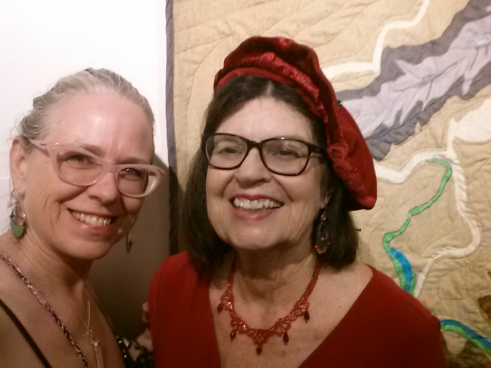 Me and Sharon Zorn-Katz in front of her quilt of Mexico as viewed from an airplane