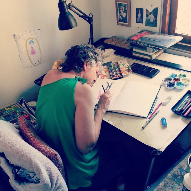 Kathy painting in her sketchbook, Temecula, California