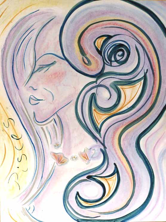 Pisces.     Mixed media on board, 24 x 36 inches.     © 1997 by Kathy Crabbe
