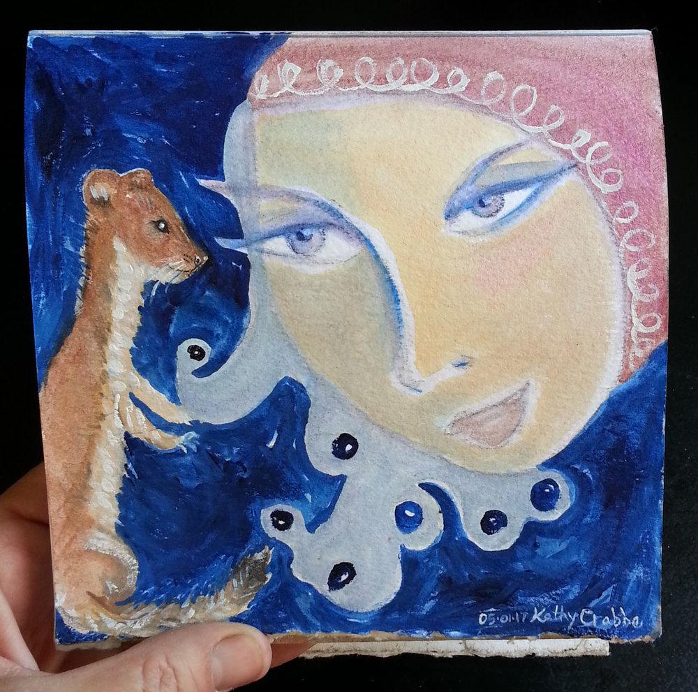 SoulSecret, 6x6 original gouache painting by Kathy Crabbe
