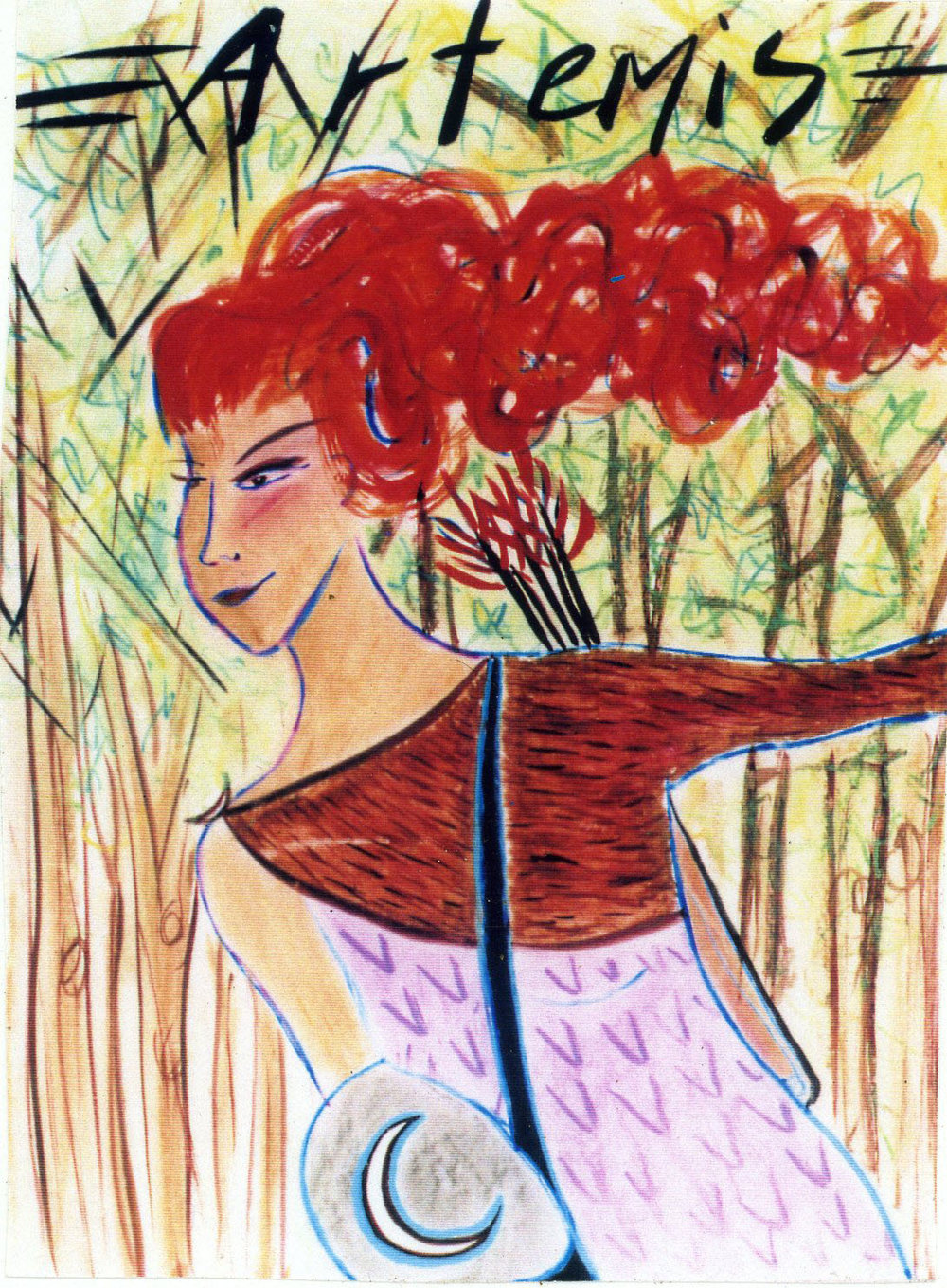 Artemis. Mixed media on board, 24 x 36 inches.© 1997 by Kathy Crabbe