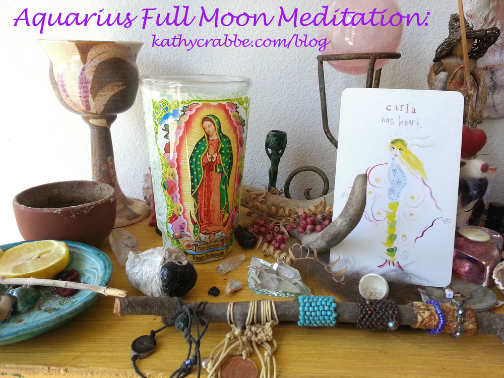 Aquarius Full Moon Altar by Kathy Crabbe